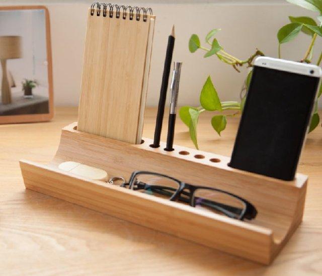 竹木质桌面收纳笔筒